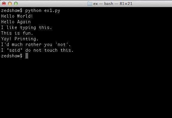 Static Python Osx Terminal Ex1